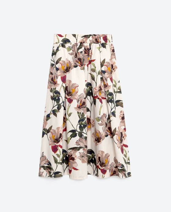 Floral Print Midi Skirt - length: below the knee; fit: loose/voluminous; waist: high rise; predominant colour: ivory/cream; secondary colour: dark green; occasions: casual; style: a-line; fibres: cotton - 100%; hip detail: soft pleats at hip/draping at hip/flared at hip; pattern type: fabric; pattern: florals; texture group: other - light to midweight; pattern size: big & busy (bottom); season: s/s 2016; wardrobe: highlight