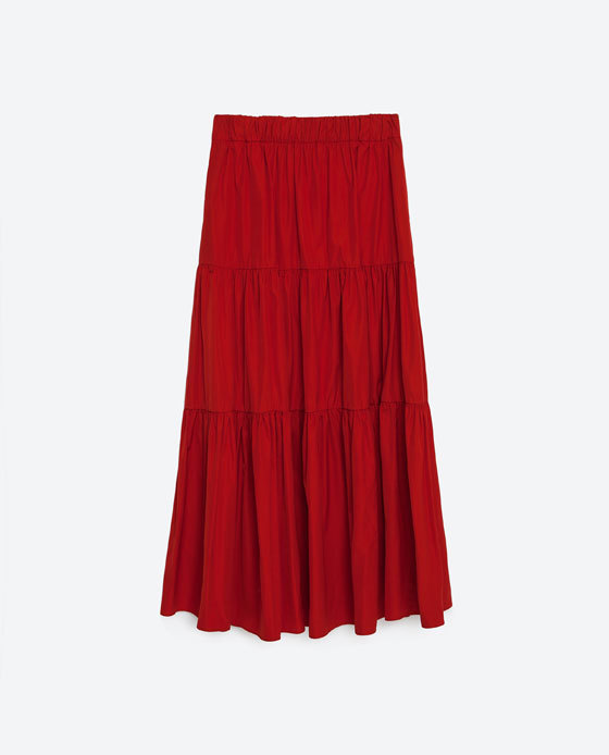 Studio Skirt With Frill - pattern: plain; length: ankle length; fit: loose/voluminous; waist: high rise; predominant colour: true red; occasions: casual; style: maxi skirt; fibres: polyester/polyamide - 100%; texture group: cotton feel fabrics; pattern type: fabric; season: s/s 2016; wardrobe: highlight