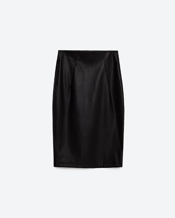 Faux Leather Tube Skirt - pattern: plain; style: pencil; fit: tailored/fitted; waist: mid/regular rise; predominant colour: black; occasions: evening; length: just above the knee; fibres: polyester/polyamide - 100%; texture group: leather; pattern type: fabric; season: s/s 2016; wardrobe: event