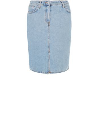 Pale Blue Denim Pencil Skirt - pattern: plain; style: pencil; fit: tight; waist: mid/regular rise; predominant colour: pale blue; occasions: casual; length: just above the knee; fibres: cotton - 100%; texture group: denim; pattern type: fabric; season: s/s 2016; wardrobe: basic