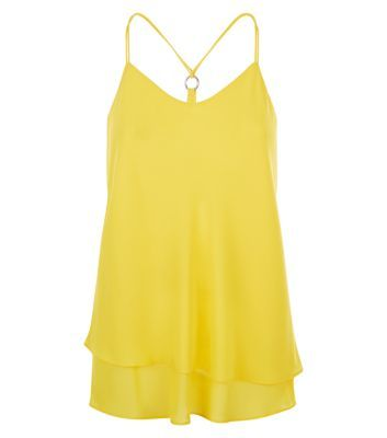 Yellow Ring Back Layered Cami - neckline: low v-neck; sleeve style: spaghetti straps; pattern: plain; style: camisole; predominant colour: yellow; occasions: casual, evening; length: standard; fibres: polyester/polyamide - 100%; fit: loose; back detail: crossover; sleeve length: sleeveless; hip detail: ruffles/tiers/tie detail at hip; pattern type: fabric; texture group: other - light to midweight; season: s/s 2016; wardrobe: highlight