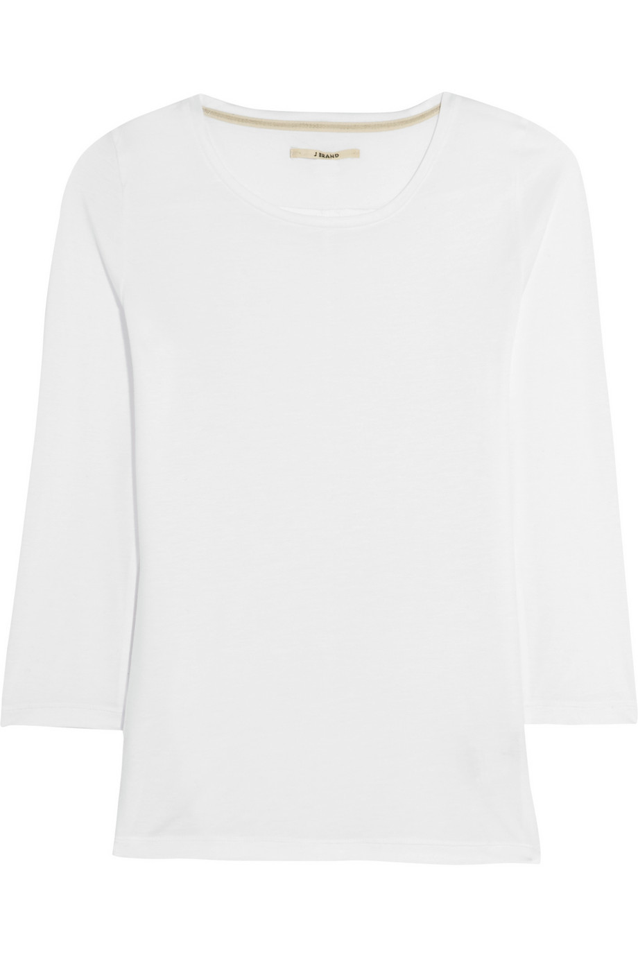 Sophie Stretch Jersey Top White - neckline: round neck; pattern: plain; predominant colour: white; occasions: casual; length: standard; style: top; fibres: cotton - stretch; fit: straight cut; sleeve length: 3/4 length; sleeve style: standard; pattern type: fabric; texture group: jersey - stretchy/drapey; season: s/s 2016