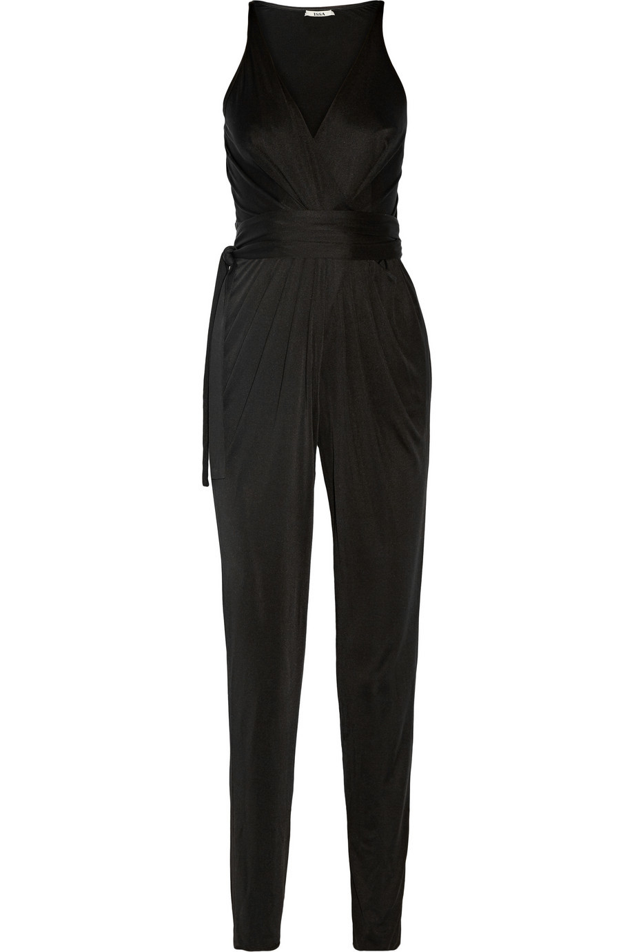 Rubell Wrap Effect Silk Blend Jersey Jumpsuit Black - length: standard; neckline: low v-neck; fit: tailored/fitted; pattern: plain; sleeve style: sleeveless; waist detail: belted waist/tie at waist/drawstring; predominant colour: black; occasions: evening, occasion; fibres: silk - mix; hip detail: ruching/gathering at hip; sleeve length: sleeveless; style: jumpsuit; pattern type: fabric; texture group: jersey - stretchy/drapey; season: s/s 2016