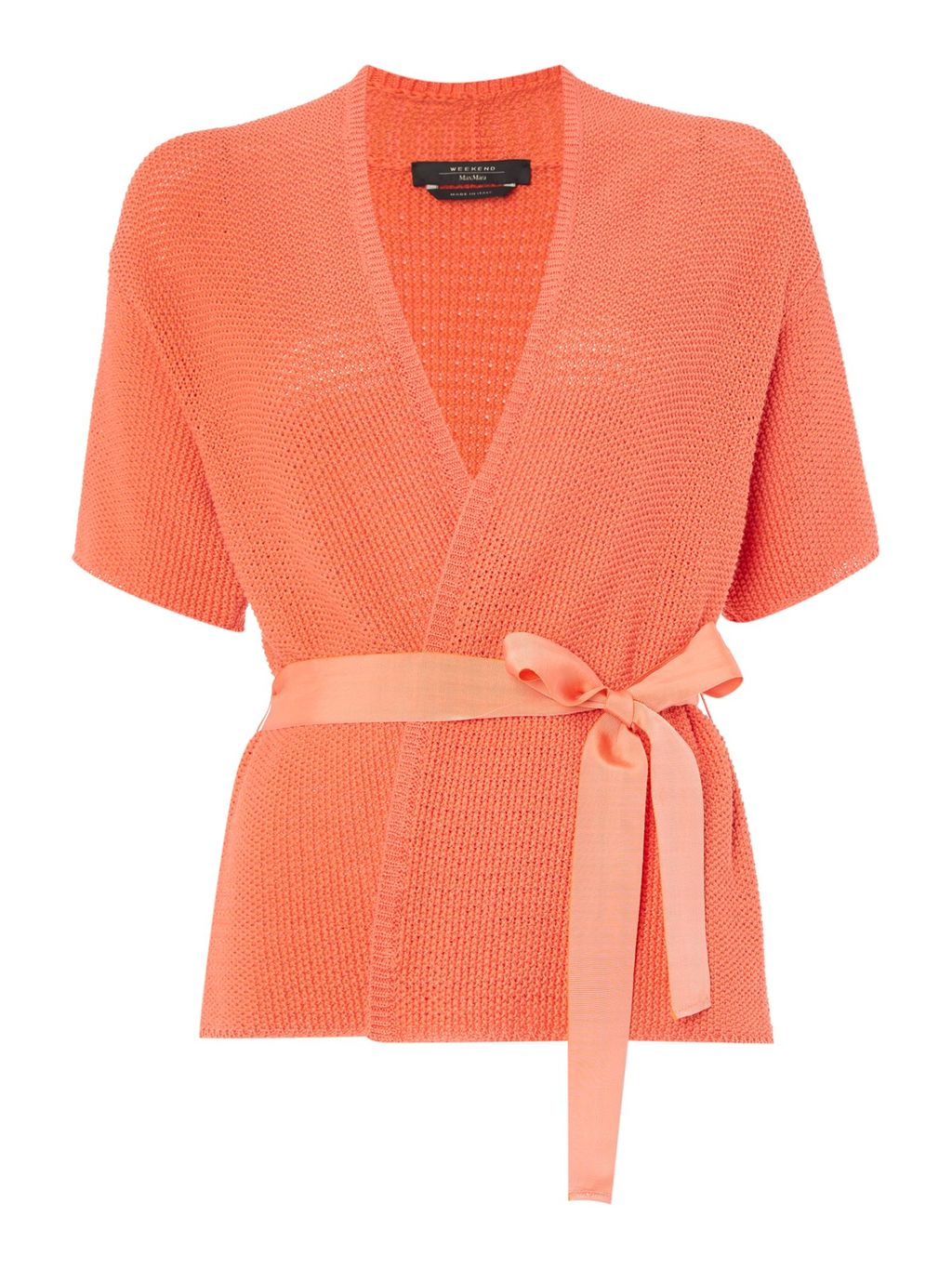 Blanc Short Sleeve Chunky Cardigan With Belt, Coral - neckline: low v-neck; pattern: plain; style: wrap; predominant colour: coral; length: standard; fibres: cotton - 100%; occasions: occasion, creative work; fit: slim fit; waist detail: belted waist/tie at waist/drawstring; sleeve length: half sleeve; sleeve style: standard; texture group: knits/crochet; pattern type: knitted - fine stitch; season: s/s 2016; wardrobe: highlight