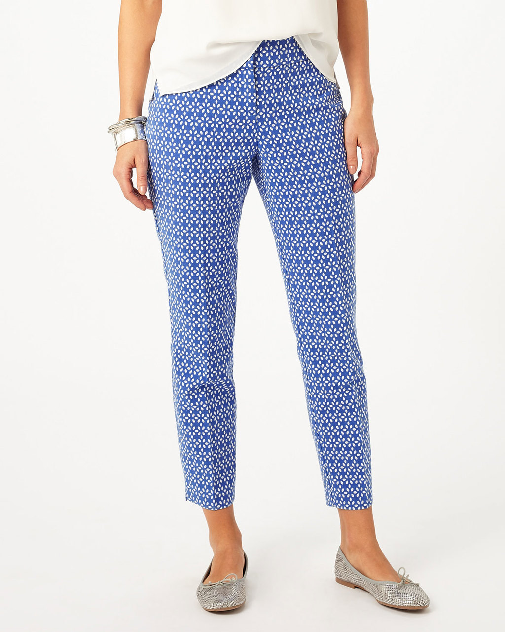 Erica Petal Trouser - style: capri; waist: mid/regular rise; secondary colour: royal blue; predominant colour: pale blue; occasions: casual, creative work; length: ankle length; fibres: cotton - mix; fit: slim leg; pattern type: fabric; pattern: patterned/print; texture group: woven light midweight; pattern size: light/subtle (bottom); season: s/s 2016