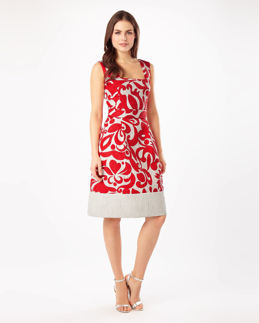 Jubilee Print Dress - sleeve style: sleeveless; secondary colour: white; predominant colour: true red; length: on the knee; fit: fitted at waist & bust; style: fit & flare; fibres: cotton - 100%; occasions: occasion; hip detail: subtle/flattering hip detail; sleeve length: sleeveless; neckline: medium square neck; pattern type: fabric; pattern size: standard; pattern: patterned/print; texture group: woven light midweight; season: s/s 2016; wardrobe: event