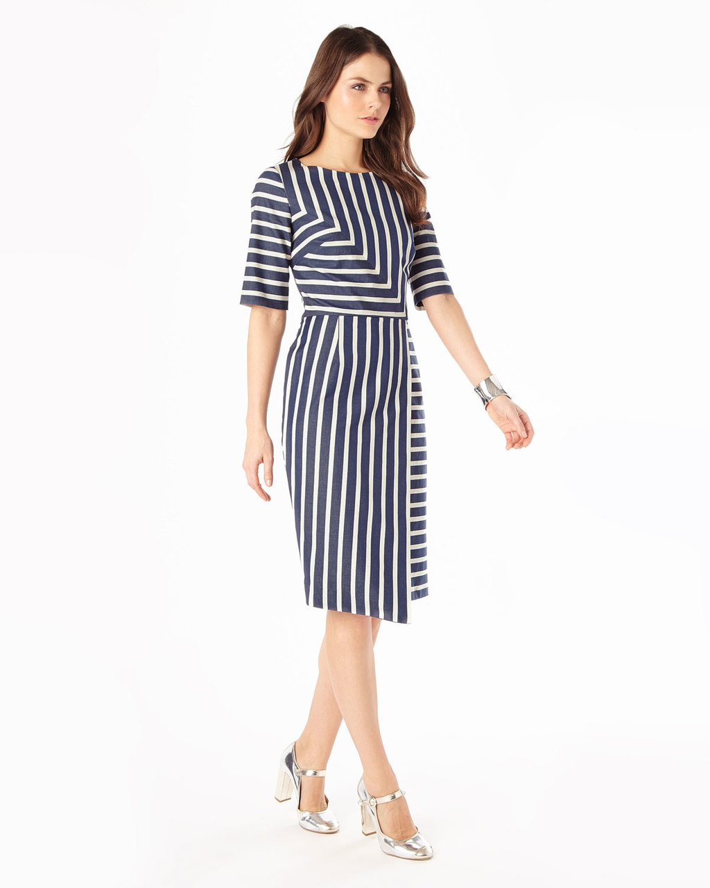 Alexandra Stripe Dress - style: shift; length: below the knee; pattern: striped; secondary colour: white; predominant colour: navy; occasions: evening; fit: body skimming; fibres: cotton - stretch; neckline: crew; sleeve length: half sleeve; sleeve style: standard; pattern type: fabric; texture group: jersey - stretchy/drapey; multicoloured: multicoloured; season: s/s 2016; wardrobe: event