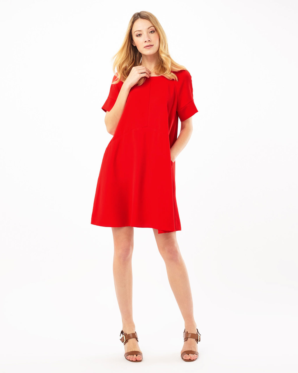 Zelda Dress - style: shift; pattern: plain; predominant colour: true red; occasions: casual; length: just above the knee; fit: soft a-line; fibres: polyester/polyamide - 100%; neckline: crew; sleeve length: short sleeve; sleeve style: standard; pattern type: fabric; texture group: other - light to midweight; season: s/s 2016