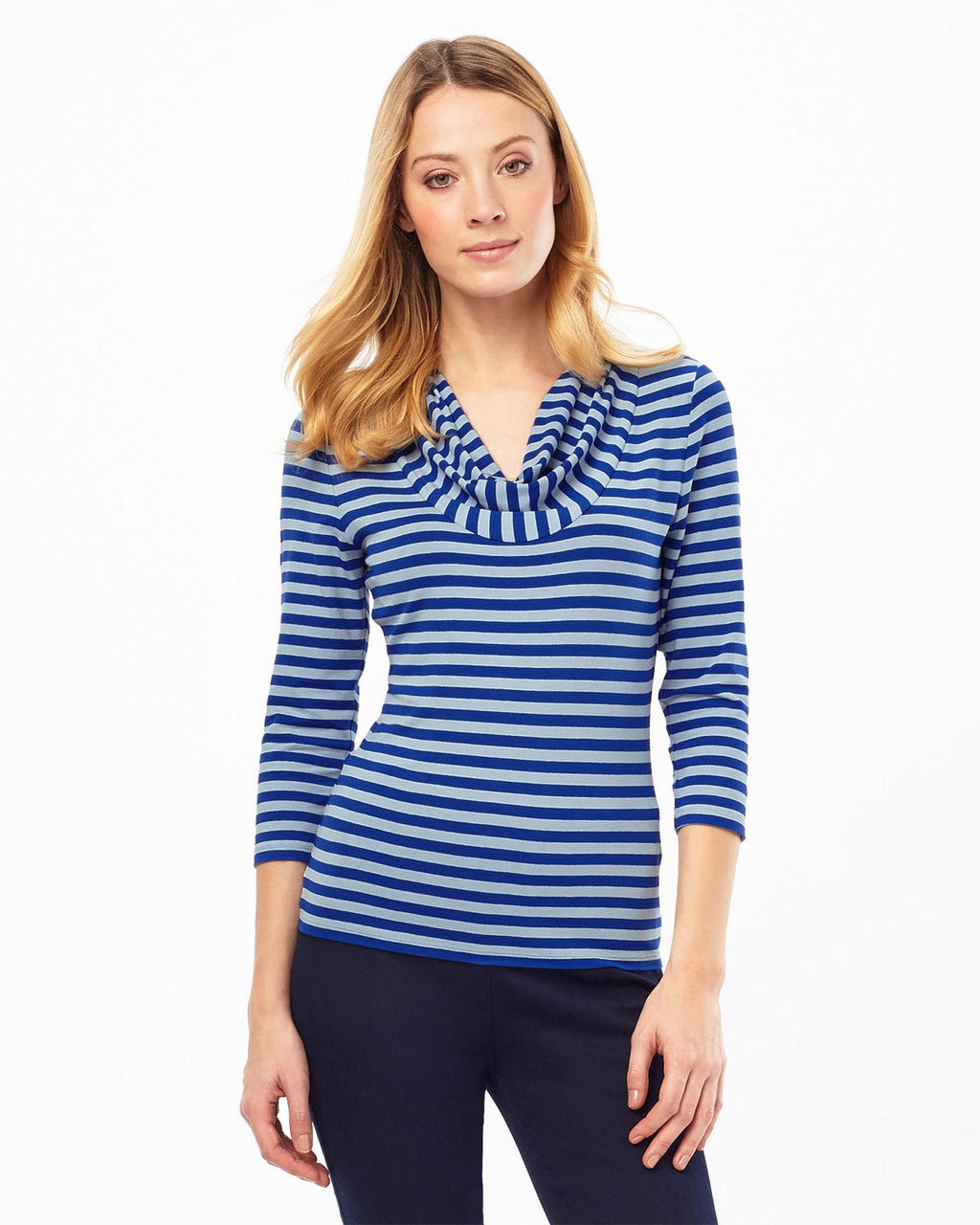 Carrie Stripe Top - neckline: cowl/draped neck; pattern: horizontal stripes; secondary colour: navy; predominant colour: denim; occasions: casual, creative work; length: standard; style: top; fibres: viscose/rayon - stretch; fit: tight; sleeve length: 3/4 length; sleeve style: standard; pattern type: fabric; texture group: jersey - stretchy/drapey; season: s/s 2016; wardrobe: highlight