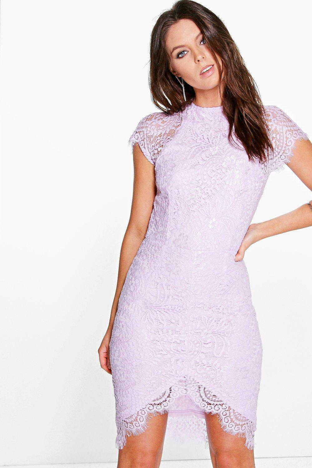 Leah Eyelash Lace Curved Hem Bodycon Dress Violet - sleeve style: capped; fit: tight; pattern: plain; style: bodycon; predominant colour: ivory/cream; occasions: evening; length: just above the knee; fibres: polyester/polyamide - 100%; neckline: crew; sleeve length: short sleeve; pattern type: fabric; texture group: other - light to midweight; embellishment: lace; season: s/s 2016; wardrobe: event