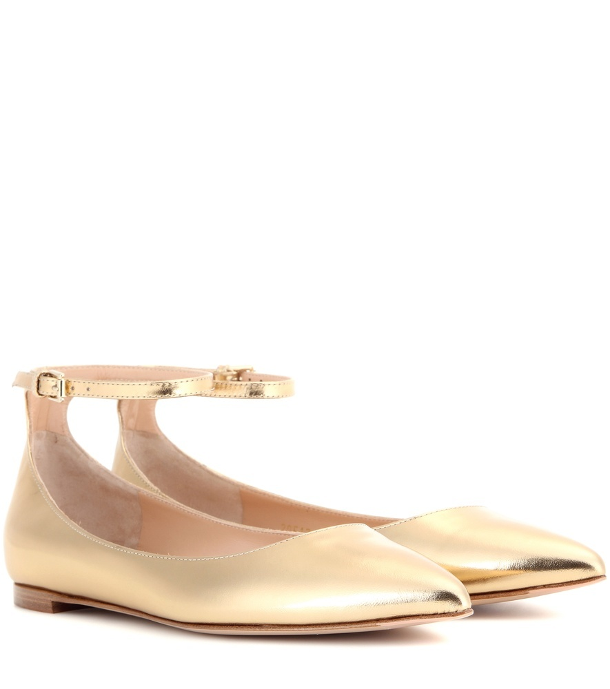 Gia Metallic Leather Ballerinas - predominant colour: gold; occasions: casual, creative work; material: leather; heel height: flat; ankle detail: ankle strap; toe: round toe; style: ballerinas / pumps; finish: metallic; pattern: plain; season: s/s 2016; wardrobe: basic