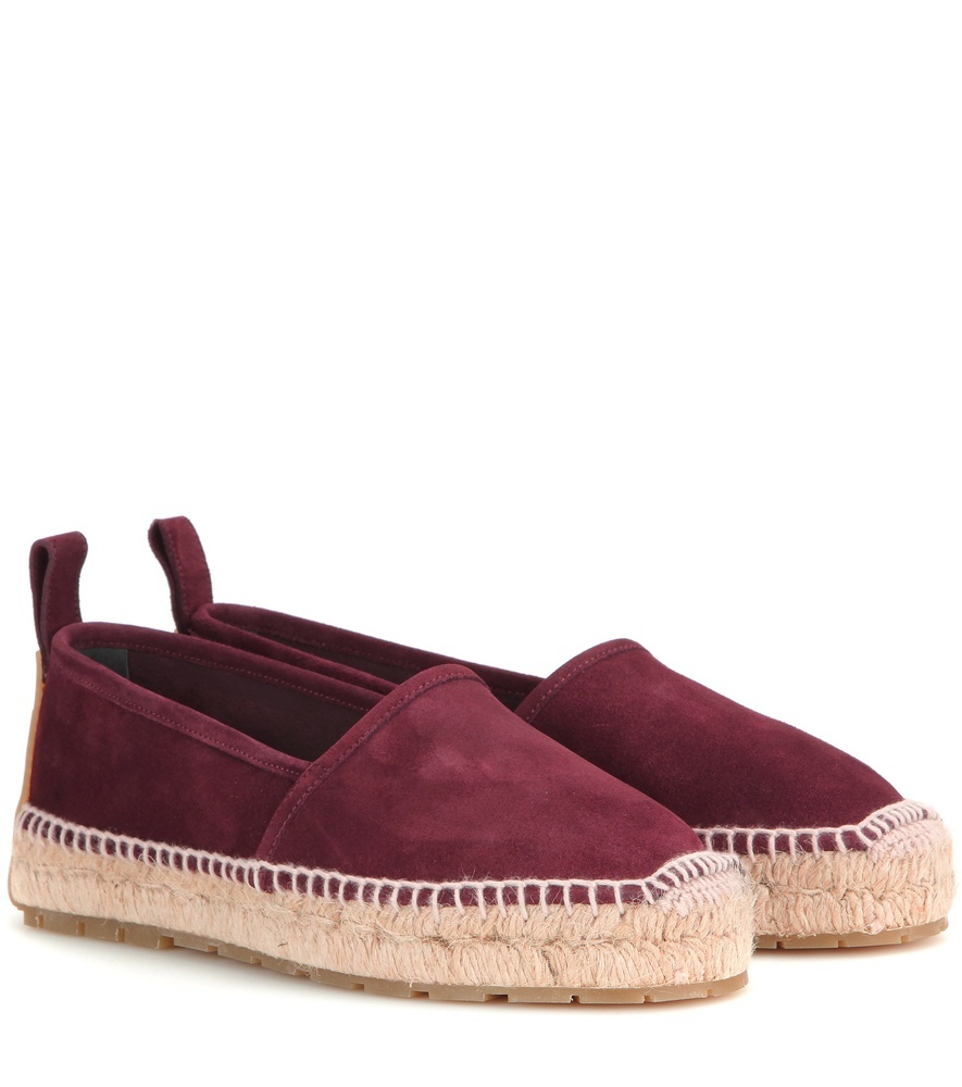 Suede Espadrilles - predominant colour: aubergine; occasions: casual, holiday; material: suede; heel height: flat; toe: round toe; finish: plain; pattern: plain; style: espadrilles; shoe detail: platform; season: s/s 2016; wardrobe: highlight