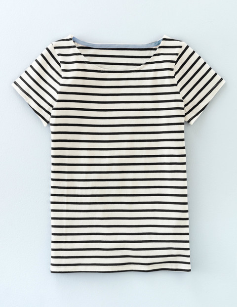 Short Sleeve Breton Ivory/Black Women, Ivory/Black - pattern: horizontal stripes; style: t-shirt; secondary colour: ivory/cream; predominant colour: black; occasions: casual, creative work; length: standard; fibres: cotton - 100%; fit: body skimming; neckline: crew; sleeve length: short sleeve; sleeve style: standard; pattern type: fabric; pattern size: standard; texture group: jersey - stretchy/drapey; season: s/s 2016; wardrobe: basic