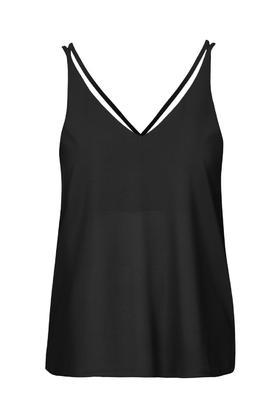 Petite Double Strap V Front Cami - neckline: v-neck; pattern: plain; sleeve style: sleeveless; style: camisole; predominant colour: black; occasions: casual, evening; length: standard; fibres: polyester/polyamide - 100%; fit: body skimming; sleeve length: sleeveless; texture group: crepes; pattern type: fabric; season: s/s 2016; wardrobe: basic