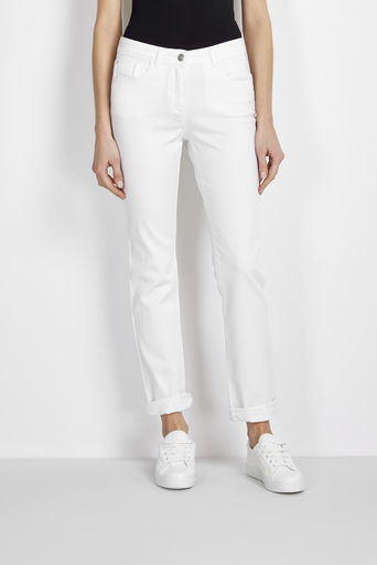 White Roll Up Jean - style: straight leg; length: standard; pattern: plain; pocket detail: traditional 5 pocket; waist: mid/regular rise; predominant colour: white; occasions: casual, creative work; fibres: cotton - stretch; texture group: denim; pattern type: fabric; season: s/s 2016; wardrobe: highlight
