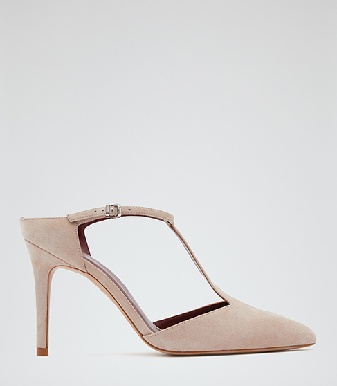 Loki Suede T Bar Shoes - predominant colour: nude; occasions: evening, work, occasion; material: suede; heel height: high; ankle detail: ankle strap; heel: stiletto; toe: pointed toe; style: t-bar; finish: plain; pattern: plain; season: s/s 2016; wardrobe: investment