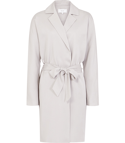 Manhattan Fluid Trench Coat - pattern: plain; collar: round collar/collarless; style: trench coat; length: mid thigh; predominant colour: light grey; fit: tailored/fitted; fibres: polyester/polyamide - 100%; waist detail: belted waist/tie at waist/drawstring; sleeve length: long sleeve; sleeve style: standard; collar break: medium; pattern type: fabric; texture group: other - light to midweight; occasions: creative work; season: s/s 2016; wardrobe: investment