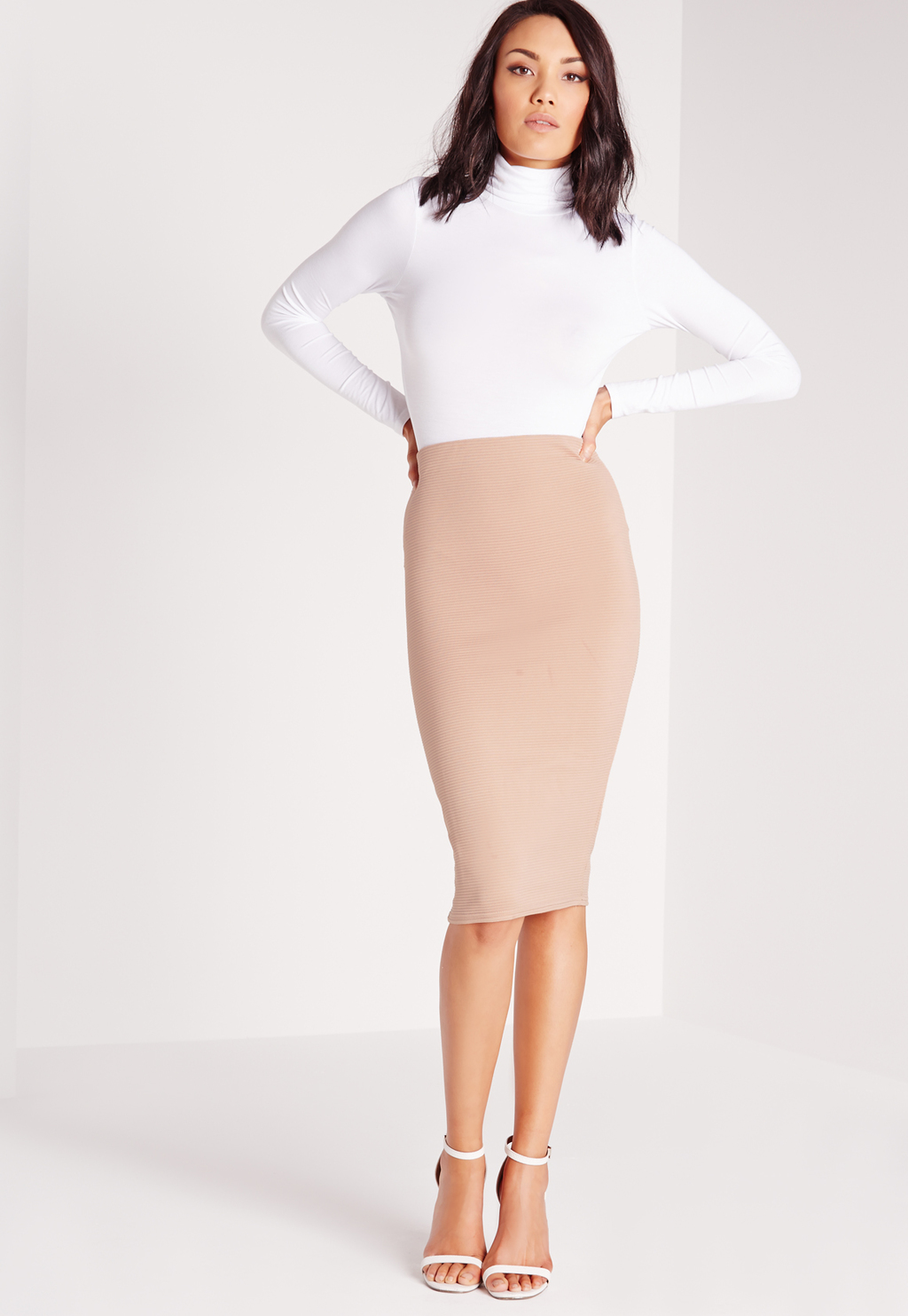 Ribbed Midi Skirt Mocha, Brown - pattern: plain; fit: tight; waist: high rise; hip detail: fitted at hip; predominant colour: blush; occasions: evening, occasion; length: on the knee; fibres: polyester/polyamide - stretch; style: tube; pattern type: fabric; texture group: jersey - stretchy/drapey; season: s/s 2016; wardrobe: event