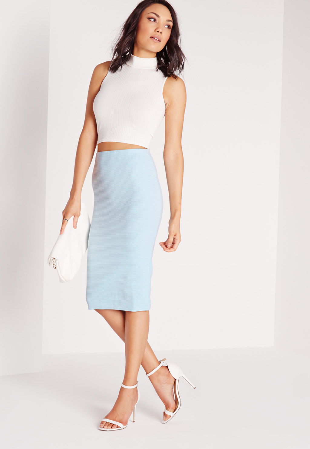 Ribbed Midi Skirt Blue, Blue - length: below the knee; pattern: plain; style: pencil; fit: tight; waist: high rise; predominant colour: pale blue; occasions: evening; fibres: polyester/polyamide - stretch; pattern type: fabric; texture group: jersey - stretchy/drapey; season: s/s 2016