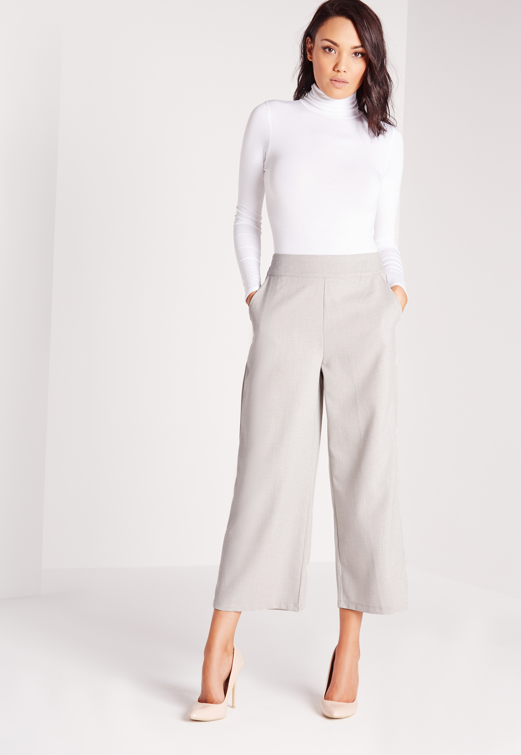 Cropped Wide Leg Trousers Grey, Grey - pattern: plain; waist: high rise; predominant colour: light grey; length: ankle length; fibres: polyester/polyamide - 100%; fit: wide leg; pattern type: fabric; texture group: other - light to midweight; style: standard; occasions: creative work; season: s/s 2016; wardrobe: basic