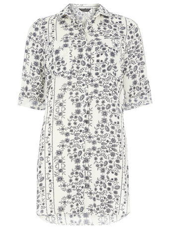 Womens Ivory Floral Longline Shirt White - neckline: shirt collar/peter pan/zip with opening; style: shirt; predominant colour: white; secondary colour: light grey; occasions: casual, creative work; fibres: polyester/polyamide - 100%; fit: body skimming; length: mid thigh; sleeve length: half sleeve; sleeve style: standard; texture group: sheer fabrics/chiffon/organza etc.; pattern type: fabric; pattern: florals; pattern size: big & busy (top); multicoloured: multicoloured; season: s/s 2016