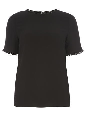 Womens Black Pom Pom Trim Soft Tee Black - neckline: round neck; pattern: plain; style: t-shirt; predominant colour: black; occasions: casual, work, creative work; length: standard; fibres: viscose/rayon - stretch; fit: body skimming; sleeve length: short sleeve; sleeve style: standard; pattern type: fabric; texture group: jersey - stretchy/drapey; season: s/s 2016