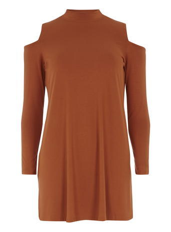 Womens Rust Cold Shoulder Top Rust - pattern: plain; neckline: high neck; length: below the bottom; style: tunic; predominant colour: terracotta; occasions: casual; fibres: viscose/rayon - stretch; fit: body skimming; shoulder detail: cut out shoulder; sleeve length: long sleeve; sleeve style: standard; pattern type: fabric; texture group: jersey - stretchy/drapey; season: s/s 2016