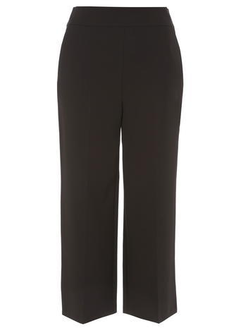 Womens Black Crepe Wide Leg Crop Trousers Black - pattern: plain; pocket detail: pockets at the sides; waist: mid/regular rise; predominant colour: black; occasions: evening, creative work; length: calf length; fibres: polyester/polyamide - 100%; texture group: crepes; fit: straight leg; pattern type: fabric; style: standard; season: s/s 2016; wardrobe: basic