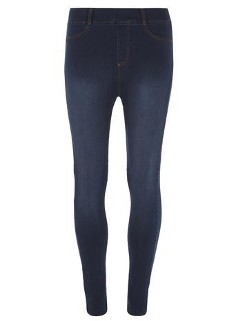 Womens Mid Wash High Waisted 'eden' Jeggings Blue - pattern: plain; style: leggings; pocket detail: small back pockets; waist: high rise; predominant colour: navy; occasions: casual; length: ankle length; fibres: cotton - stretch; texture group: denim; fit: skinny/tight leg; pattern type: fabric; season: s/s 2016; wardrobe: basic