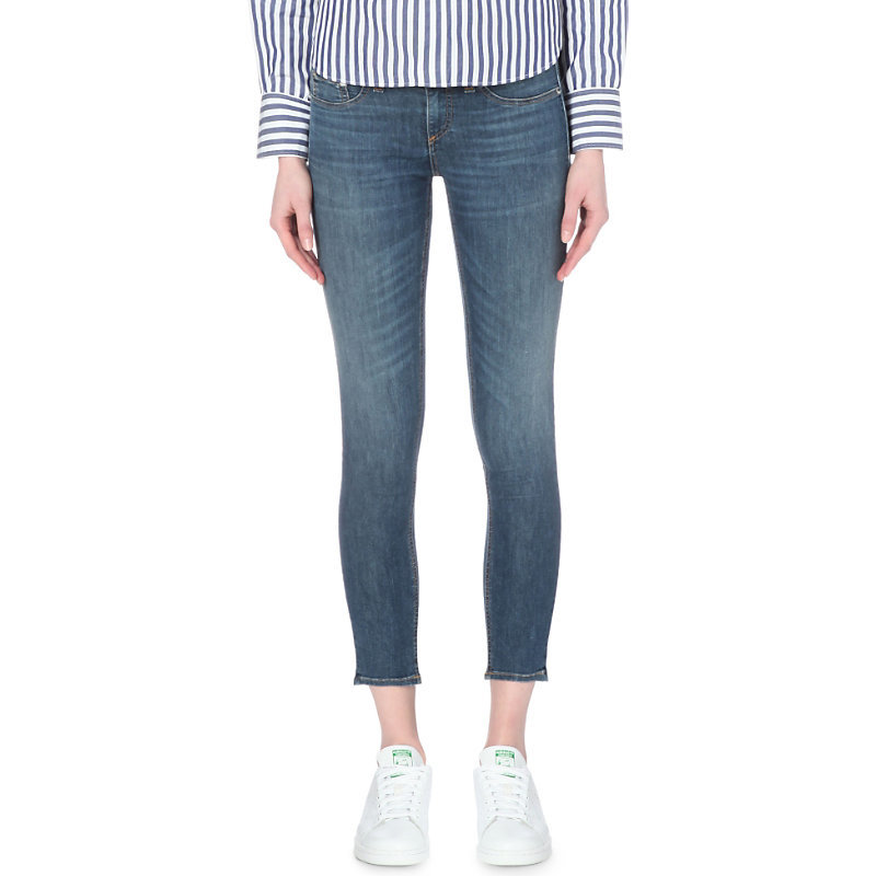 Skinny Cropped Mid Rise Jeans, Women's, Rae - style: skinny leg; pattern: plain; pocket detail: traditional 5 pocket; waist: mid/regular rise; predominant colour: denim; occasions: casual; length: ankle length; fibres: cotton - stretch; jeans detail: shading down centre of thigh; texture group: denim; pattern type: fabric; season: s/s 2016; wardrobe: basic