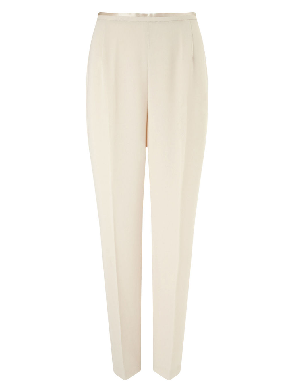 Crepe Trouser - length: standard; pattern: plain; waist: mid/regular rise; predominant colour: ivory/cream; occasions: casual, work, creative work; fibres: polyester/polyamide - 100%; hip detail: front pleats at hip level; texture group: crepes; fit: straight leg; pattern type: fabric; style: standard; season: s/s 2016; wardrobe: basic
