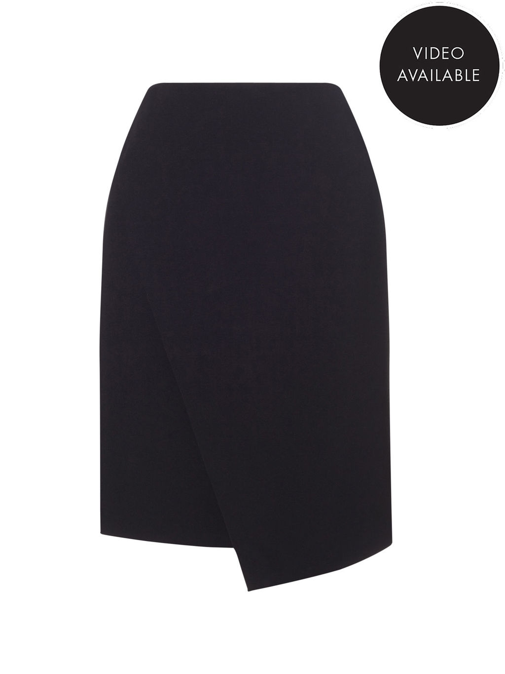 Jeff Banks Black Wrap Skirt - pattern: plain; style: wrap/faux wrap; fit: tailored/fitted; waist: high rise; predominant colour: black; occasions: evening, work, creative work; length: just above the knee; fibres: polyester/polyamide - stretch; waist detail: feature waist detail; texture group: crepes; pattern type: fabric; season: s/s 2016; wardrobe: basic