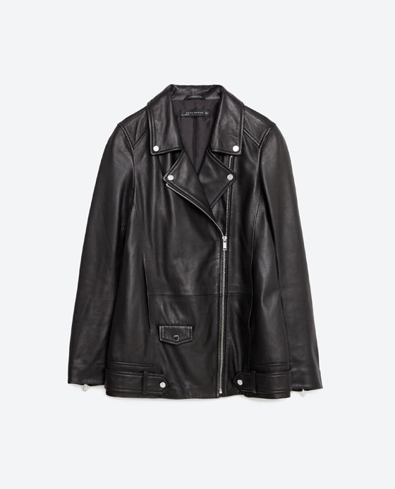 Long Leather Jacket - pattern: plain; style: biker; collar: asymmetric biker; fit: slim fit; predominant colour: black; occasions: casual, creative work; length: standard; fibres: leather - 100%; sleeve length: long sleeve; sleeve style: standard; texture group: leather; collar break: high/illusion of break when open; pattern type: fabric; season: s/s 2016
