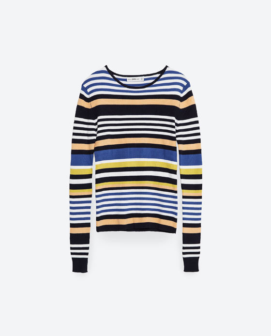 Multicoloured Striped Sweater - pattern: horizontal stripes; style: standard; secondary colour: white; predominant colour: royal blue; occasions: casual, creative work; length: standard; fibres: cotton - mix; fit: standard fit; neckline: crew; sleeve length: long sleeve; sleeve style: standard; texture group: knits/crochet; pattern type: knitted - fine stitch; pattern size: standard; multicoloured: multicoloured; season: s/s 2016