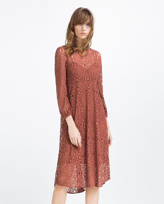 Lace Dress - style: shirt; fit: empire; pattern: plain; predominant colour: terracotta; occasions: casual, creative work; length: on the knee; fibres: cotton - mix; neckline: crew; sleeve length: long sleeve; sleeve style: standard; texture group: crepes; pattern type: fabric; season: s/s 2016; wardrobe: highlight
