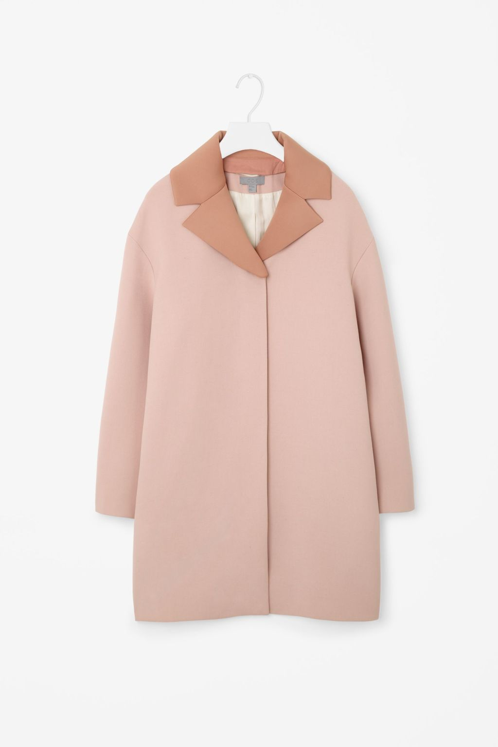Coat With Detachable Lapel - style: single breasted; collar: standard lapel/rever collar; length: mid thigh; secondary colour: camel; predominant colour: nude; occasions: casual, creative work; fit: straight cut (boxy); fibres: polyester/polyamide - mix; sleeve length: long sleeve; sleeve style: standard; collar break: medium; pattern type: fabric; pattern size: standard; pattern: colourblock; texture group: woven bulky/heavy; season: s/s 2016; wardrobe: highlight
