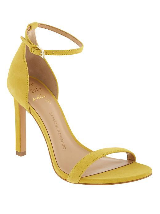 Holland Heeled Sandal Yellow - predominant colour: yellow; occasions: evening, occasion; material: suede; heel height: high; ankle detail: ankle strap; heel: stiletto; toe: open toe/peeptoe; style: strappy; finish: plain; pattern: plain; season: s/s 2016