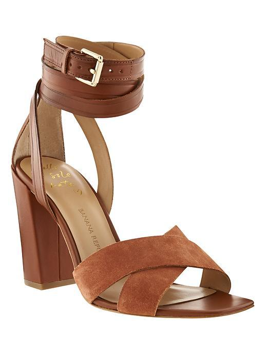 Pella Heeled Sandal Rum - predominant colour: tan; occasions: evening, creative work; material: suede; heel height: high; embellishment: buckles; ankle detail: ankle strap; heel: block; toe: open toe/peeptoe; style: strappy; finish: plain; pattern: plain; season: s/s 2016; wardrobe: highlight