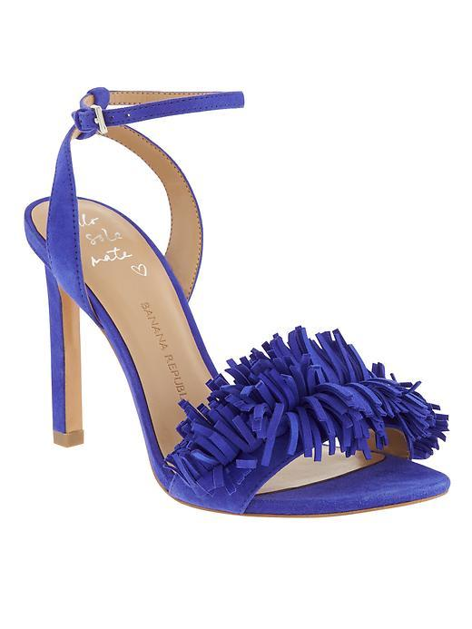 Honey Fringe Sandal Neon Cobalt - predominant colour: royal blue; occasions: evening, occasion; material: suede; heel height: high; ankle detail: ankle strap; heel: stiletto; toe: open toe/peeptoe; style: strappy; finish: plain; pattern: plain; embellishment: fringing; season: s/s 2016; wardrobe: event