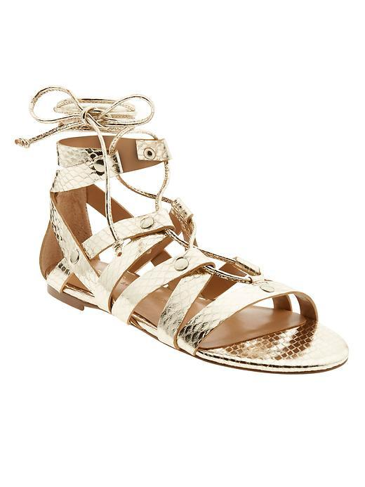 Telly Lace Up Sandal Pale Gold - predominant colour: gold; occasions: casual, holiday; material: leather; heel height: flat; ankle detail: ankle tie; heel: block; toe: open toe/peeptoe; style: gladiators; finish: metallic; pattern: plain; season: s/s 2016