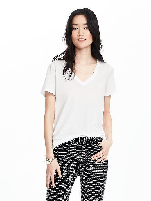 Essential Pima Cotton Vee Tee White - neckline: v-neck; pattern: plain; style: t-shirt; predominant colour: white; occasions: casual; length: standard; fibres: cotton - 100%; fit: body skimming; sleeve length: short sleeve; sleeve style: standard; pattern type: fabric; texture group: jersey - stretchy/drapey; season: s/s 2016; wardrobe: basic