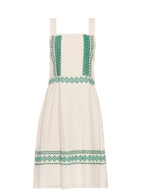 Elda Embroidered Silk Crepe Dress - pattern: plain; sleeve style: sleeveless; style: sundress; predominant colour: ivory/cream; secondary colour: emerald green; occasions: casual; length: on the knee; fit: fitted at waist & bust; fibres: silk - 100%; hip detail: soft pleats at hip/draping at hip/flared at hip; sleeve length: sleeveless; neckline: medium square neck; pattern type: fabric; texture group: other - light to midweight; season: s/s 2016; wardrobe: highlight