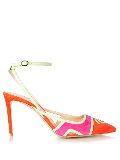 Outliner Ankle Strap Suede Pumps - predominant colour: hot pink; secondary colour: bright orange; occasions: evening, occasion; material: suede; heel height: high; ankle detail: ankle strap; heel: stiletto; toe: pointed toe; style: slingbacks; finish: plain; pattern: patterned/print; multicoloured: multicoloured; season: s/s 2016; wardrobe: event