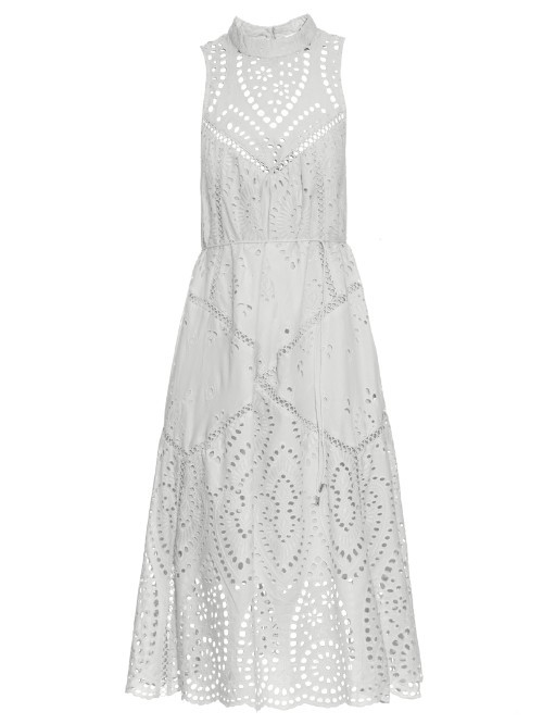 Epoque Broderie Anglaise High Neck Dress - length: below the knee; fit: fitted at waist; pattern: plain; sleeve style: sleeveless; neckline: high neck; waist detail: elasticated waist; back detail: racer back/sports back; predominant colour: white; style: fit & flare; fibres: cotton - 100%; occasions: occasion; sleeve length: sleeveless; pattern type: fabric; texture group: broiderie anglais; season: s/s 2016; wardrobe: event