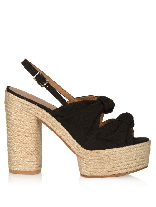 Abbey Canvas Platform Sandals - predominant colour: black; occasions: casual, creative work; material: fabric; heel: wedge; toe: open toe/peeptoe; style: strappy; finish: plain; pattern: plain; heel height: very high; shoe detail: platform; season: s/s 2016