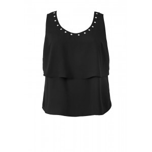 Crepe De Chine Eyelet Top - neckline: round neck; pattern: plain; sleeve style: sleeveless; predominant colour: black; occasions: casual, evening; length: standard; style: top; fibres: polyester/polyamide - 100%; fit: body skimming; sleeve length: sleeveless; texture group: crepes; pattern type: fabric; season: s/s 2016; wardrobe: basic