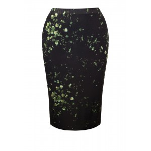 Digital Jersey Skirt - style: pencil; fit: body skimming; hip detail: draws attention to hips; waist: mid/regular rise; secondary colour: emerald green; predominant colour: black; occasions: evening, occasion; length: just above the knee; fibres: polyester/polyamide - mix; pattern type: fabric; pattern: patterned/print; texture group: jersey - stretchy/drapey; pattern size: big & busy (bottom); season: s/s 2016; wardrobe: event