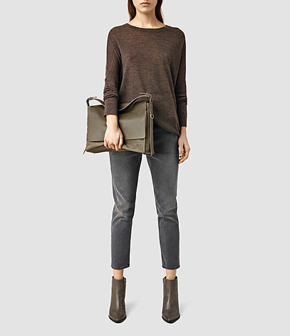 Paradise Satchel Bag - predominant colour: chocolate brown; occasions: casual, creative work; type of pattern: standard; style: satchel; length: across body/long; size: oversized; material: leather; pattern: plain; finish: plain; season: s/s 2016; wardrobe: basic