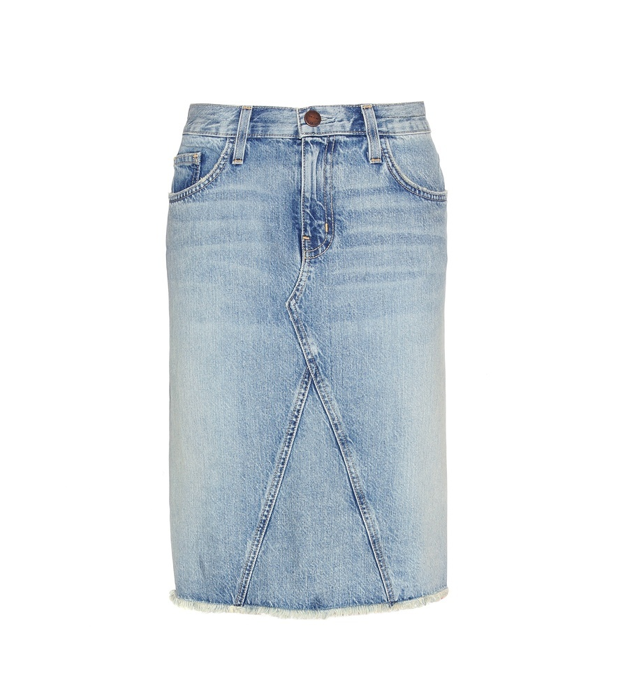 The Reworked Denim Skirt - pattern: plain; style: pencil; fit: tailored/fitted; waist: mid/regular rise; predominant colour: denim; occasions: casual, creative work; length: on the knee; fibres: cotton - 100%; texture group: denim; pattern type: fabric; season: s/s 2016