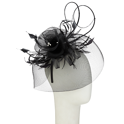 Diamanté Fascinator - predominant colour: black; occasions: occasion; type of pattern: standard; style: fascinator; size: standard; material: macrame/raffia/straw; pattern: plain; embellishment: feather; season: s/s 2016; wardrobe: event